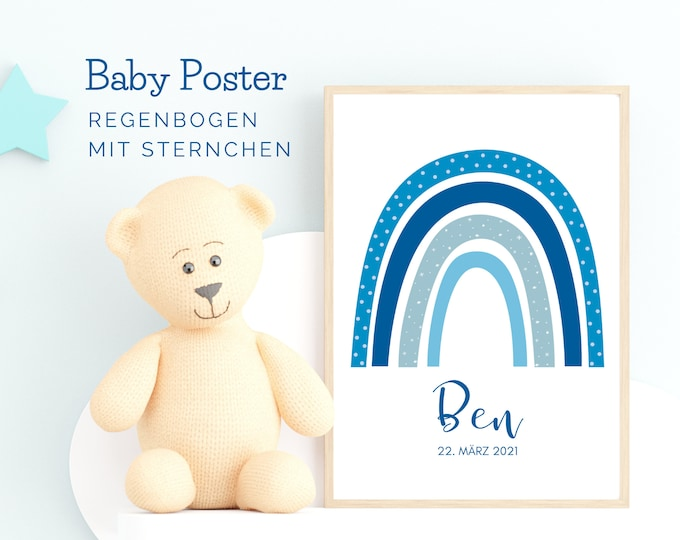 Light blue rainbow | Birth poster | Baptism gift | personalised | Name | Picture Baby Nursery | Gift Birth | Blue Mint BOHO