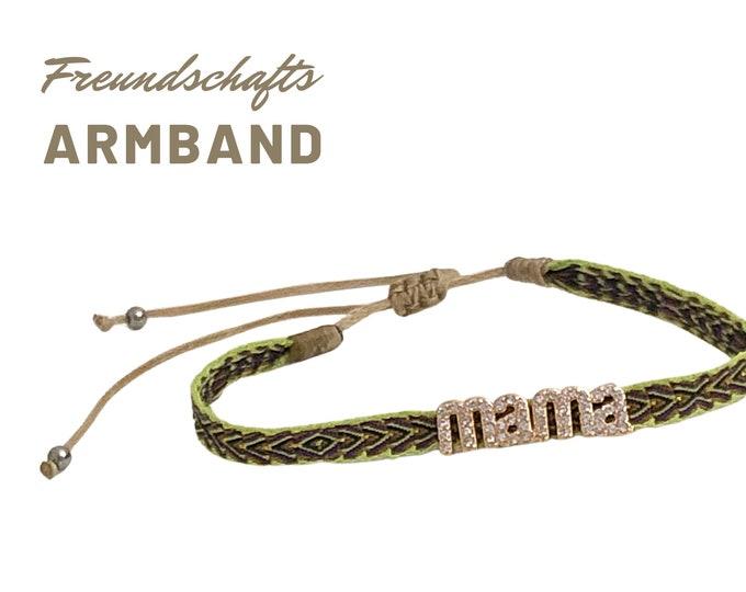 Mom Bracelet | Mother's Day Gift | dainty weaving bracelet with rhinestone | Gold Green
