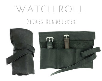 Black 3-seam Roll of thick Cowhide   Gift Men   Watch bag   Travel Wristwatches Case   Watch Roll   Leather Roll