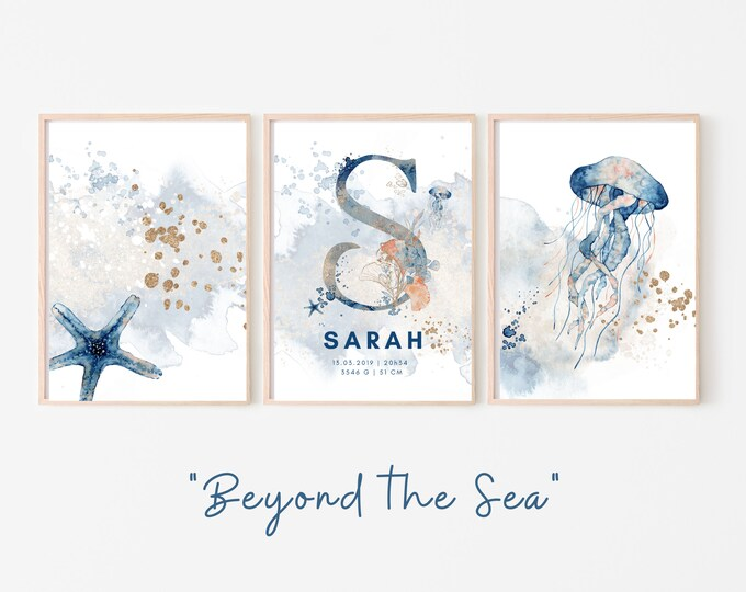 Birth Poster in Set of 3 | Baptism Gift | Maritim | Underwater | Letter | Watercolor | Animal image | Picture for Baby Nursery | blue gold