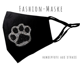 Black Glitter Mask | Dog Paw | Tatze | Paw | Fabric mask with rhinestones | Mouth covering | Face Mask | Cotton Mask | Paw print