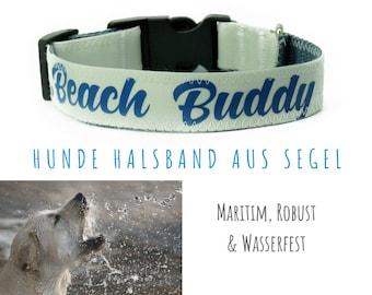 "Sail dog collar ""Beach Buddy"" | 2.5 cm | Upcycling | Sailing collar | Blue font & grey strap ribbon licourse"
