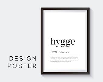Design Poster    HYGGE   Definition   Digital Print   Typo Image   Art print   Duden Phonetic   Coziness   Happy