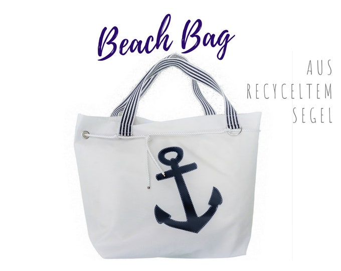 Beach bag from recycled sail | Beach Bag | Large white bag with blue anchor | Sailing bag