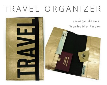 Roségoldener Travel Organizer   Travel Documents Etui   Document folder   Traveler   Reisehülle   Passport Case   Travel case Washable Paper