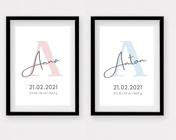 Birth Poster | Baptism Gift | Customized Print | Letter | Watercolor | Gift Birth | Baby Poster | Nursery | Typo | Image