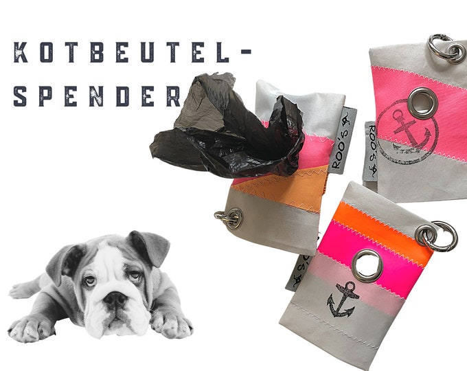 Dogs faeces bag dispenser from sail | Upcycling | colorful bags for the faeces bags | with carabiner | orange pink anchor | Bag holder
