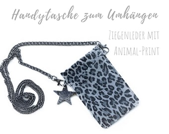 Mobile phone case for hanging   Animal Print   Crossbody Phone Case   Goat leather   Mobile phone shoulder bag   Leo Leather Case   Mobile phone chain