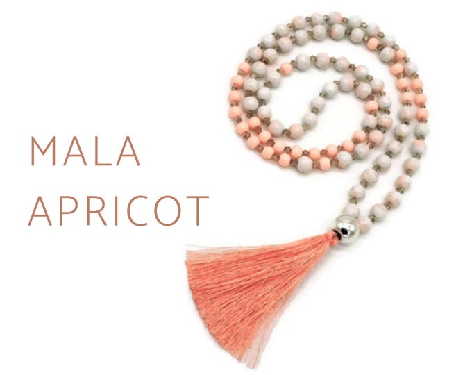 Apricot Mala Necklace | salmon-colored bead necklace with silk tassel of faceted glass beads, acrylic beads | Prayer Necklace |  Jewellery pearl