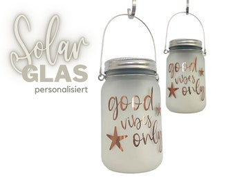Personalized Solar Glass   Solar decorative light   Solar Jar   Frosted glass   Wedding Birthday Gift   by name