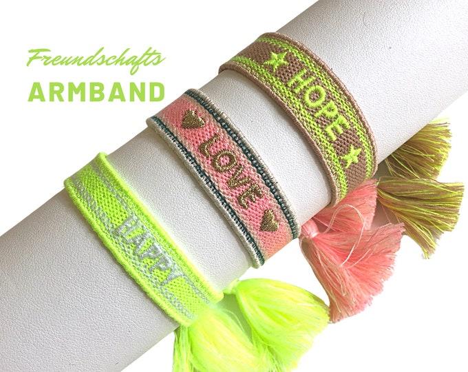 HAPPY   LOVE   HOPE   Friendship bracelet in bright neon colors   Web bracelet   Tassels   neon yellow pink pink gold