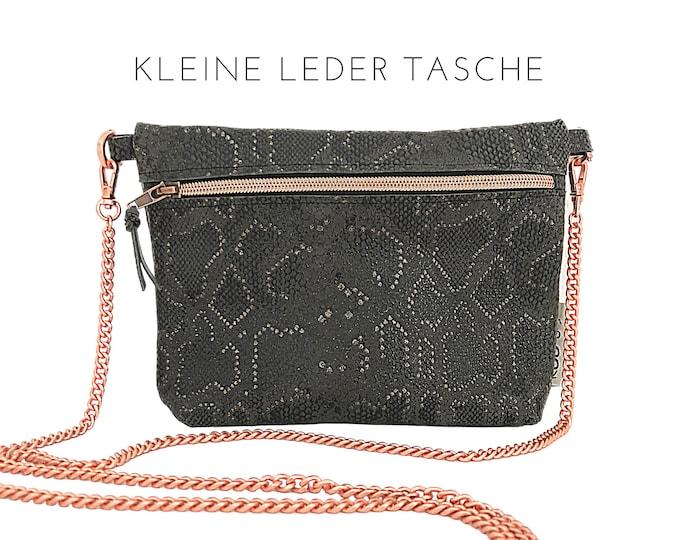 Small leather handbag with shimmering snake print | brown with rose gold | Shoulder bag | Crossbody Bag | Snake | Phyton | Reptile