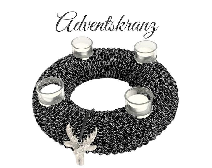Featured listing image: Black Silver Advent Wreath | knitted | elastic textile yarn | Christmas Wreath Decoration | Advent | Wreath | 30 cm | Deer | Tea