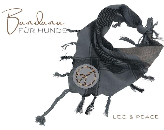 Grey Dog Neck Scarf | Peace Leo | Bandana | Triangle cloth for binding | grey taupe | Fransen | Tassels | Gr.M/L