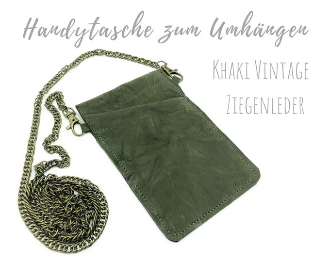 Khaki phone case for hanging | Crossbody Phone Case | Vintage Goat Leather | Mobile phone shoulder bag | Mobile Phone Chain | Crinsed surface