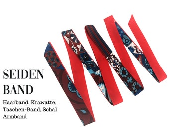 Narrow red silk scarf   Handbag handle   Wrap   Cloth   Hairband   Silk ribbon   Bracelet   Foulard   Pocket band   Vintage style