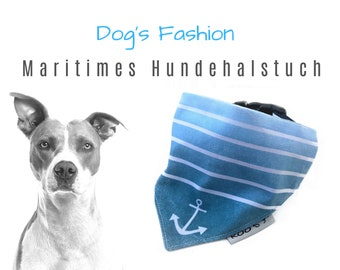 """Maritime Dog Neck cloth """"Anchor""""   blue   Cotton Dog Bandana   is attached to the collar"""