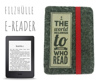 E-Reader Case | Kindle | Felt | gray | Slogan | Case E-Book | individualized are size, colors and slogan