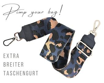Extra wide strap for handbag   blue brown Leo   5 cm wide   Crossbody Bag   XXL Belt   adjustable   pimp you bag   Replacement belt belt