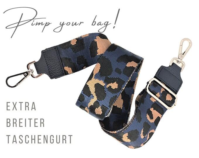 Extra wide strap for handbag | blue brown Leo | 5 cm wide | Crossbody Bag | XXL Belt | adjustable | pimp you bag | Replacement belt belt