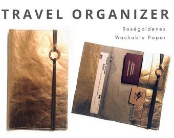 Rose Golden Travel Case | Travel Organizer | Travel Documents Folder | Document Folder | Traveller | Travel Cover | Passport