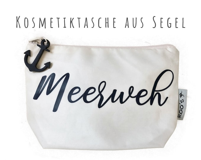 """White cosmetic bag made of sail """"Sea pain"""" 