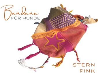 Dogs Neck Scarf | Bandana | Triangle Cloth | for binding | Star | orange pink | Fringe | Star | Vintage BOHO Style |  Cloth scarf choker |