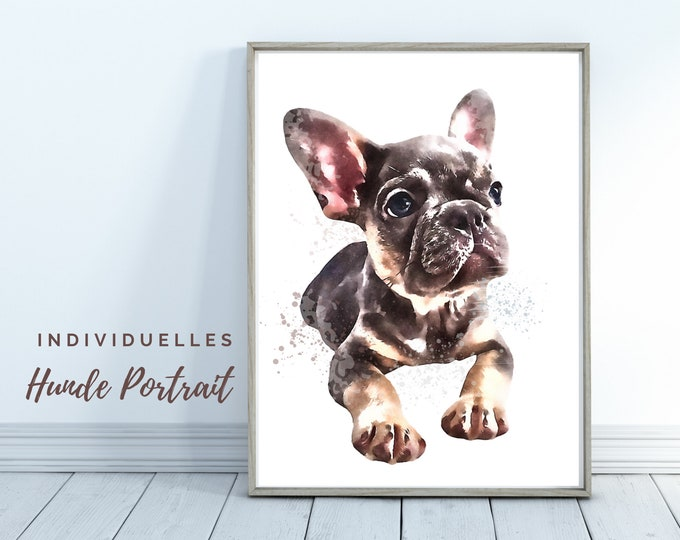 Dogs Portrait   Digital Print in Watercolor Style   User-defined image of your dog   Animal portrait after photo   Gift for dog fans