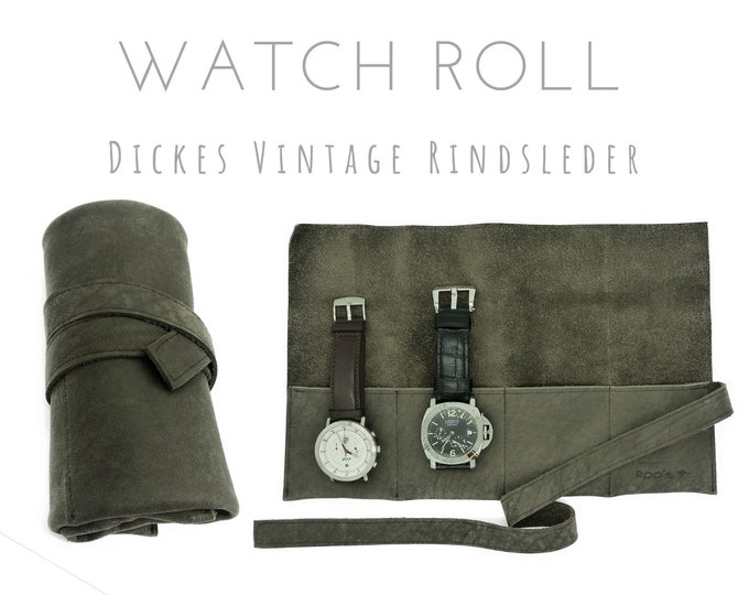 Grey brown 4-man watch roll made of vintage cowhide | Gift for Men | Wristwatches Roll 4 watches | Travel Watches Case | Watch roll leather