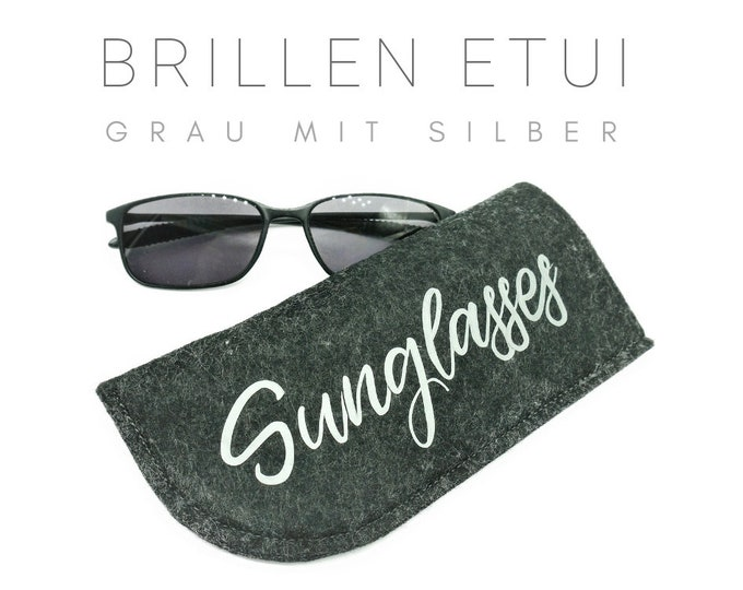 Felt case for sunglasses   Glasses   Grey with silver inscription Sunglasses