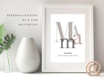 MAMA | personalized poster | Mother's Day | individual gift | Typo | Writing | Best Mother in the World | Sepia | Powder Nude