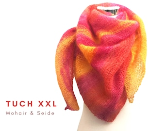 Pink knitcloth XXL | Mohair with silk | pink orange| feather-light triangular cloth | Scarf | Stola | Lace Cloth | Knitted scarf