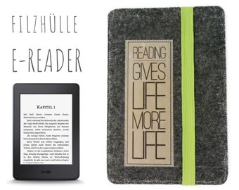 E-reader case in felt with your saying | Kindle Fire | Grey | Individualisable is size, colours and saying