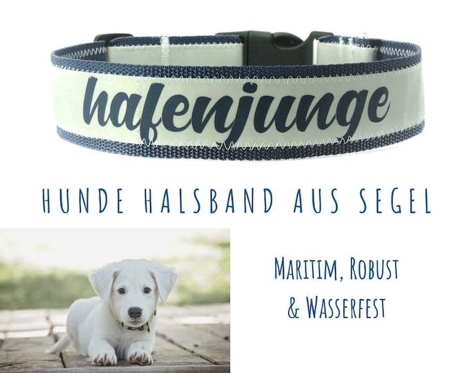 Custom: Maritime Sail Dog Collar | 4 cm | Upcycling | Sail Collar | blue font & blue webbing