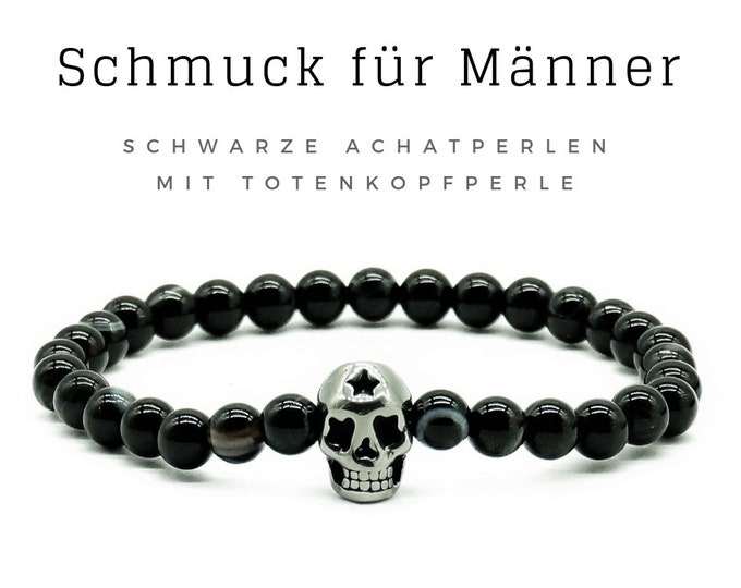 Father's Day! Bracelet for Men | Black agate pearls skull | Skull | Skull | Male jewellery | Men's bracelet | Pearl bracelet | Agate
