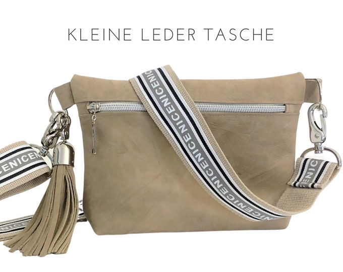 "Small beige suede handbag | Structure | Shoulder bag | Crossbody Bag | wide beiger strap with lettering ""NICE"" 