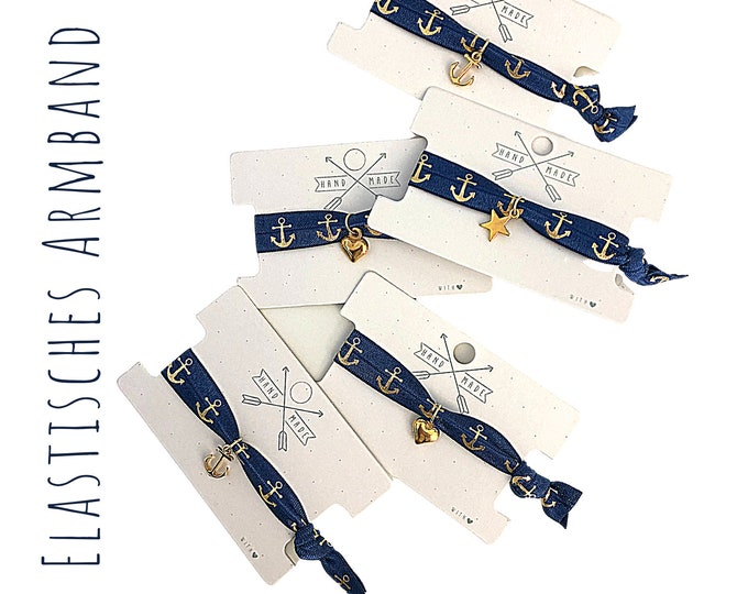 Elastic Bracelet | Hair Rubber | Webband | blue gold | Anchor | Boho | Hippie | Pendant | Anchor | Star | Heart | Jewellery card