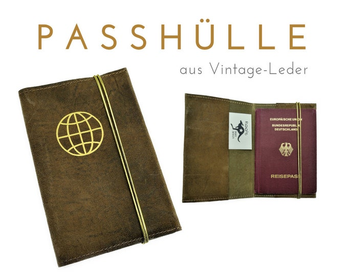 Leather Passhülle | Travel Organizer | Brown vintage leather with gold print | Travel case for Pass & Co