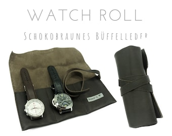 Chocolate Brown 3-case Watch Roll in Buffalo Leather | Gift Men | Brown watch bag | Travel Watches Case | Watch Roll | Leather roll