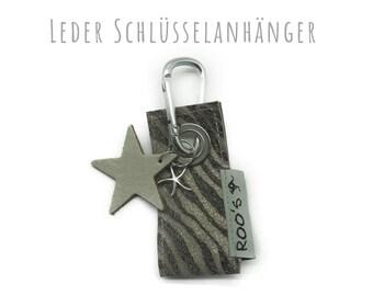 Keyring leather | Zebra | Stars | Karabiner | Goat leather with zebra print | Leather Star | Star trailer