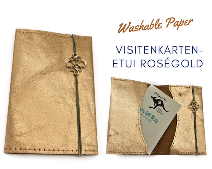 Business cards Etui in roségold from Washable Paper | Pulty for Business Cards | With ribbon and silver ornament