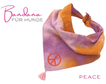 Dogs neck scarf | Bandana | PEACE | Batik pink orange purple | soft muslin | for binding | personalizable | Gr. L