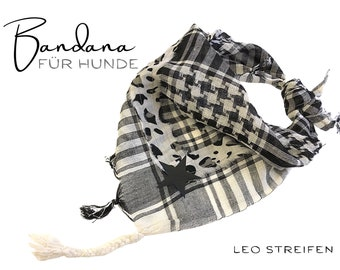 Dogs Neck scarf Leo stripes | Bandana | Triangle cloth | for binding | Pali in black beige | BOHO Style | Cloth Gr.M