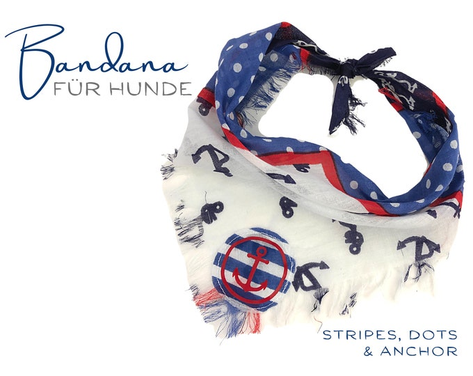 Dogs scarf   Bandana   Triangular cloth   for binding   maritime   Fringes   Anchor   Cloth scarf collar   Strip GR. S/meter