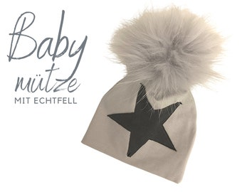 Baby hat | Bobble hat with real fur | Grey Star | Raccoon Puschel | Fur | First-time hat | Infant | Gift Birth Baptism | Fellbommel
