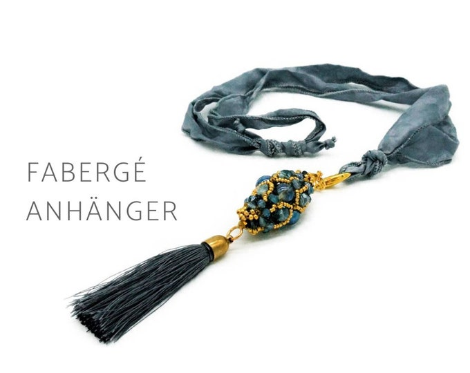 Beaded Woven Fabergé Pendant on Silk Ribbon | Glass Beads | Tassel | blue grey and gold | long chain | Pearl Necklace | Mala Chain | Drop