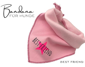 Pink Dogs Neck Scarf | Best Friend | Bandana | Triangle cloth | for binding | neon pink star | Scarf Sweat Fabric | Gr. L