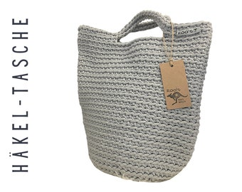 Grey crochet bag | coarsely crocheted pouch | crochet rope | crochet bag | silver grey | Polyester rope
