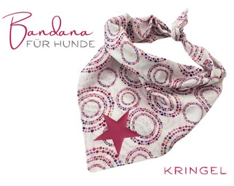 Pink Dogs Neck Scarf   Bandana   Triangle cloth with ringing   for binding   white pink   Cloth scarf collar   Gr. L