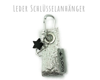 Keychain in silver leather | Anchor and Star | Alu Karabiner | Leather Star | Star trailer
